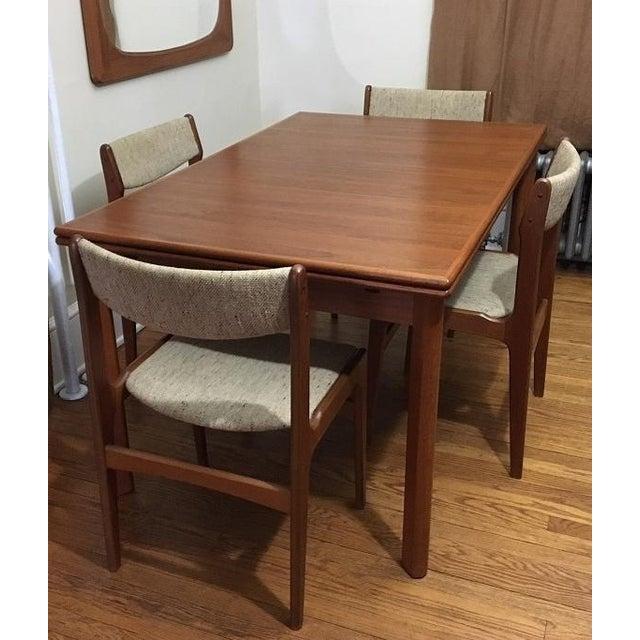 Furbo MidCentury Danish Teak Expandable Dining Table Chairs Set - Danish modern kitchen table