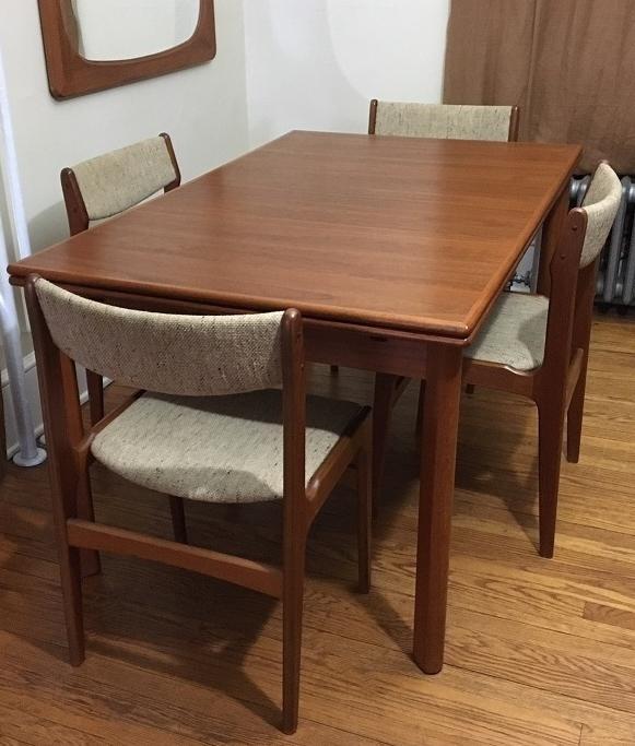 Furbo Mid Century Danish Teak Expandable Dining Table U0026 Chairs   Set Of 5