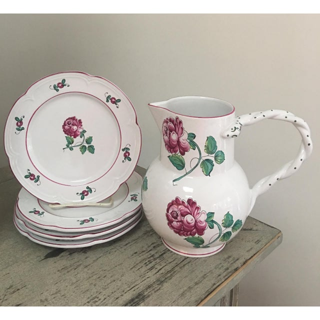 Lovely set of 4 salad or dessert plates with matching pitcher in the Strasbourg Flowers pattern by Tiffany and Co. Each...