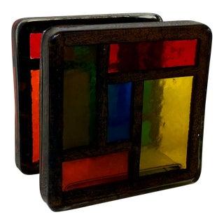 Vintage Handmade Color Block Lucite Desk Organizer For Sale