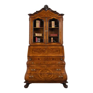 Traditional Antique Marquetry Inlaid Bookcase For Sale