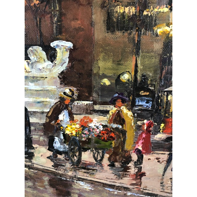 Robert Lebron original painting capturing the elegance and bustle of NYC at night in front of the iconic Pulitzer fountain...