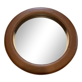 Modern Round Leather Mirror For Sale