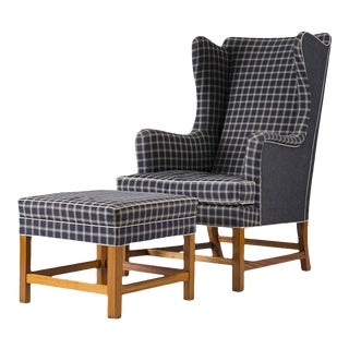 Kaare Klint Wingback Chair and Stool For Sale