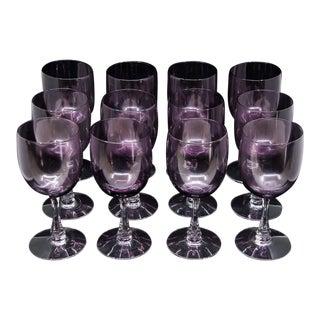 "Fostoria Mid-Century Modern ""Fascination"" Amethyst Wine Glasses - Set of 12"