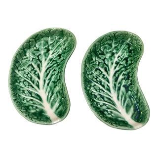 Majolica Lettuce Side Plates , Pair For Sale