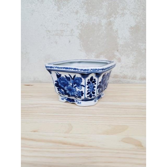 2010s Blue & White Floral Ceramic Planter For Sale - Image 5 of 5