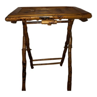 Vintage Burnt Bamboo Folding Table For Sale
