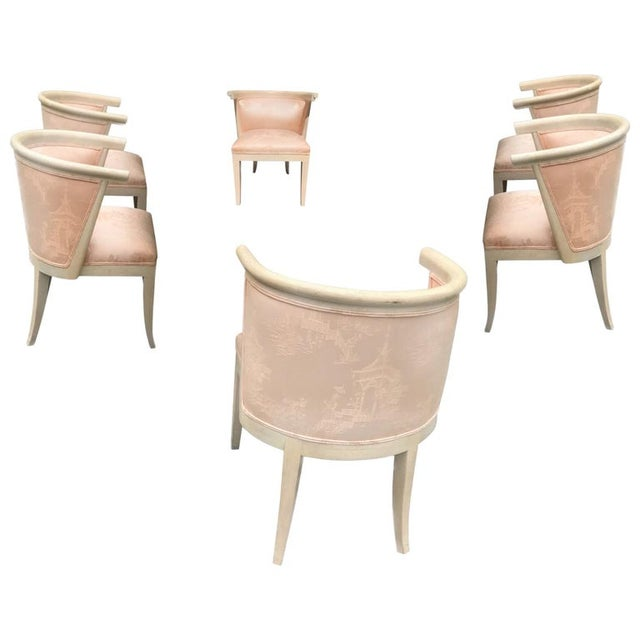 Harold Schwartz for Romweber Mid-Century Modern Limed Oak and Silk Barrel Chairs - Set of 6 For Sale - Image 10 of 10