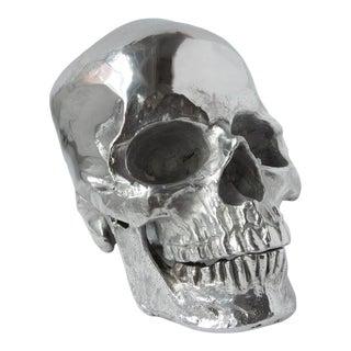 Metal Skull in Polished Nickel For Sale