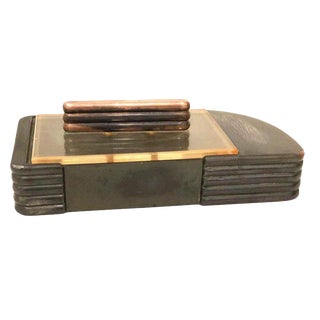 Streamline Moderne Art Deco Copper and Lucite Box For Sale