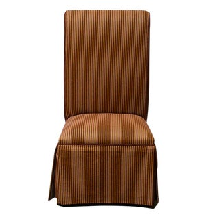 Boho Chic Orange and Burgundy Stripe Upholstered High Back Parsons Style Chair For Sale