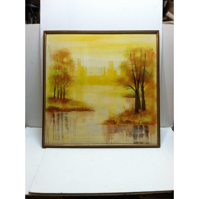 """Large """"Trees in the Skyline"""" Framed Painting on Canvas by Thomas For Sale In Pittsburgh - Image 6 of 6"""