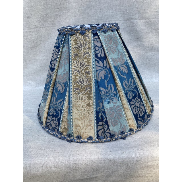 Antique Fabric Blue Pleated Lampshade For Sale - Image 4 of 4