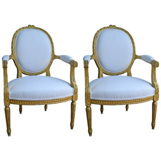 Pair of Louis XVI Style Giltwood Armchairs, 19th Century For Sale