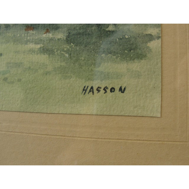 Antique Landscape Watercolor by Hasson - Image 6 of 9