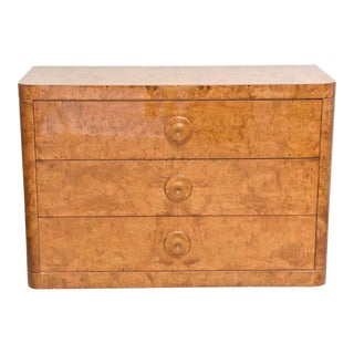 Late Art Deco Burl Birch, Three-Drawer Commode Attributed to Donald Deskey For Sale