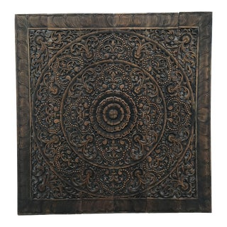 Balinese Hand-Carved Oversized Decorative Teak Wall or Ceiling Art Panel For Sale