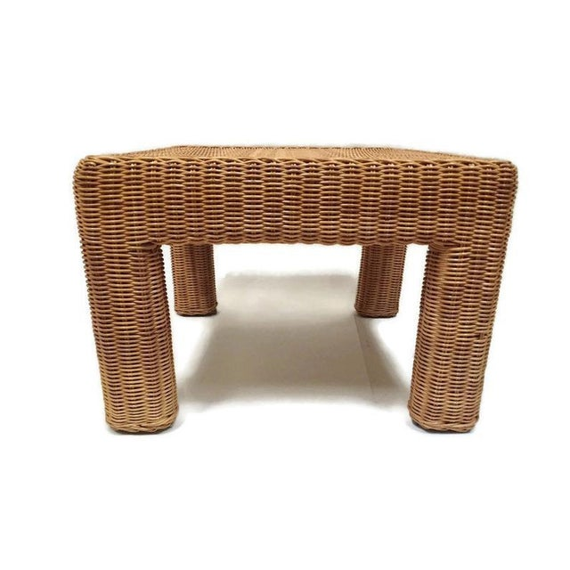 Vintage Wicker Footstool Rattan Ottoman For Sale - Image 12 of 12