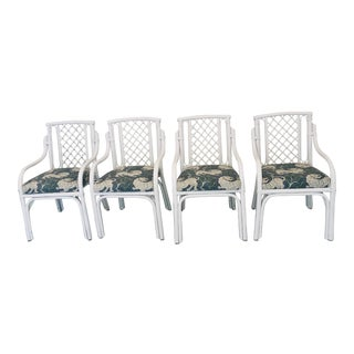 1960s Chinoiserie Palm Beach Restored Bamboo and Rattan Fretwork Dining Chairs - Set of 4 For Sale