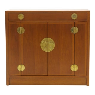 Dunbar Mahogany and Brass Four Doors One Drawer Cabinet For Sale