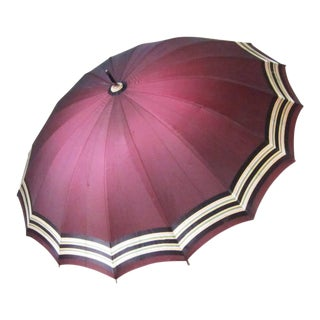Vintage Dark Red Umbrella For Sale