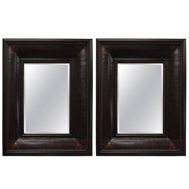 Leather Wrapped Mirrors, Pair For Sale - Image 11 of 11