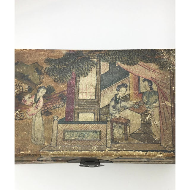 19th C. Asian Hand Painted Hide Box For Sale - Image 9 of 12