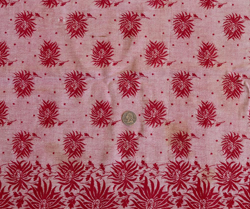 Vintage Christmas Tablecloth Turkey Red Damask Poinsettia Flowers   Image 6  Of 7