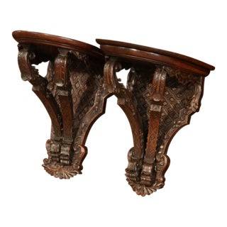 Pair 19th Century, French Louis XIV Carved Walnut and Oak Wall Brackets Consoles For Sale