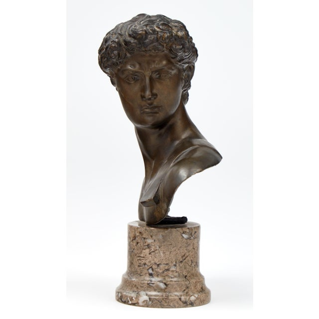 French Antique Bust of David after Michelangelo For Sale - Image 4 of 11