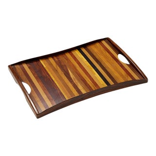 Vintage Exotic Wood Tray With Handles by Don Shoemaker For Sale