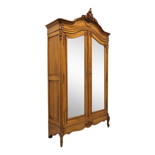 Antique 19th Century Walnut French Country Louis XV Armoire / Linen Press For Sale