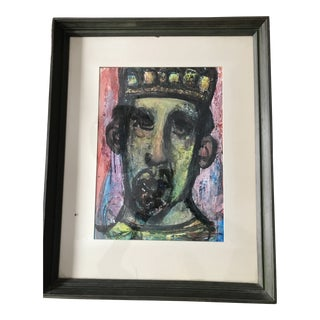 Mid Century Modern Leopold Segedin Framed Portrait Oil & Acrylic Painting For Sale