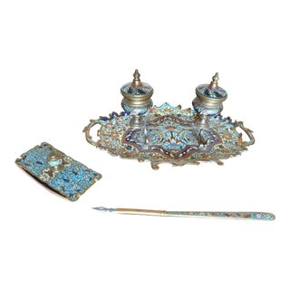 French Enameled Champlevé Gilt Bronze Inkwell Stand Desk Set - Set of 3 For Sale
