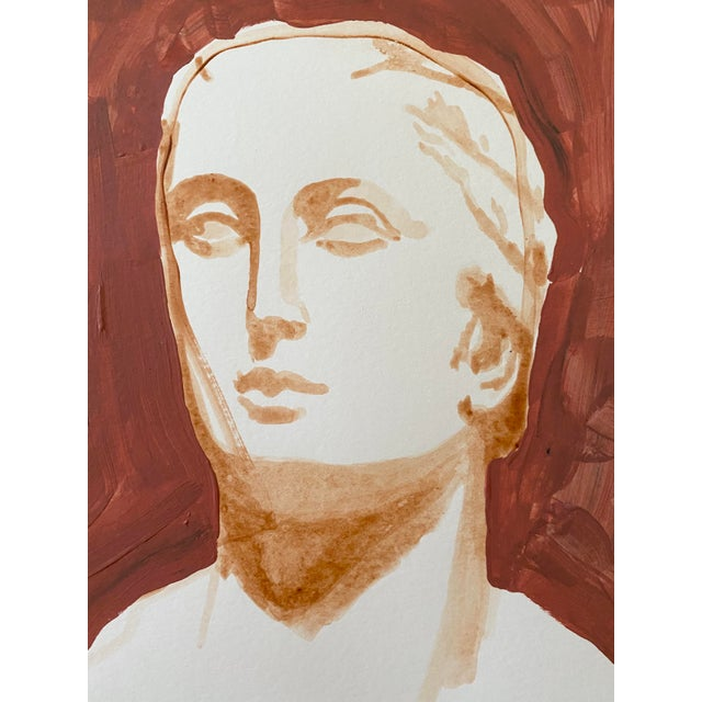 Paper Ancient Roman Woman Sculpture Painting, Acrylic on Paper For Sale - Image 7 of 9