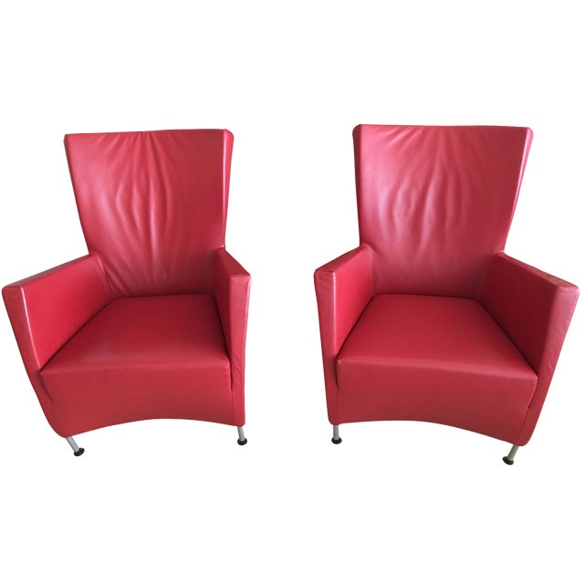Outstanding Montis Windy Red Leather Chairs A Pair Beatyapartments Chair Design Images Beatyapartmentscom