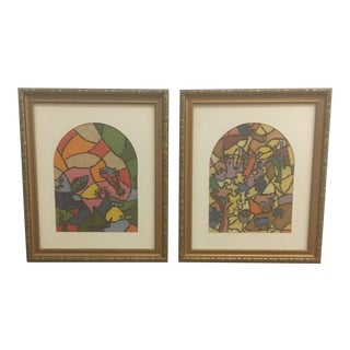 Needlepoint - Vintage Framed Needlepoint Textile Art - a Pair For Sale