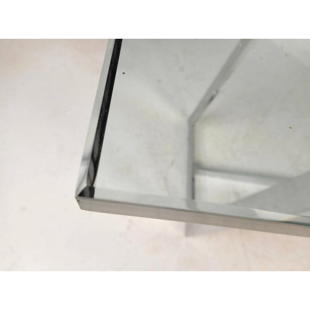 Milo Baughman Style Mid-Century Glass & Chrome Console Table For Sale - Image 4 of 6