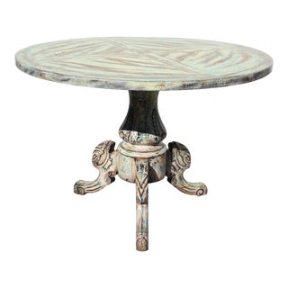 Distressed Mixed Color Tri-Legs Base Round Pedestal Table For Sale