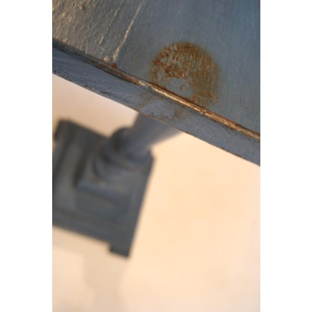 Early 20th Century Small Antique Blue Painted Pedestal Table For Sale - Image 5 of 7