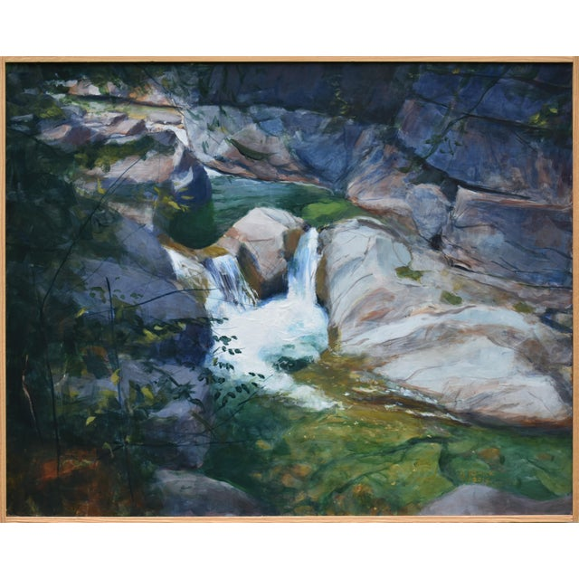 """Stephen Remick """"Vermont Waterfall, Warren Falls"""" Contemporary Painting For Sale"""