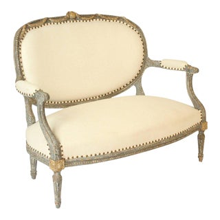 Louis XVI Style Painted & Partial Gilt Settee For Sale