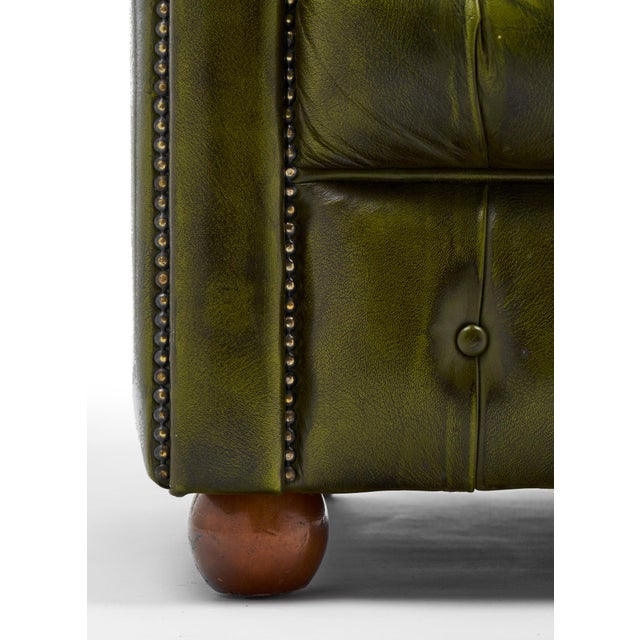 Vintage Chesterfield Green Leather Club Chair For Sale - Image 11 of 11