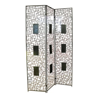 Brutalist Wrought Iron & Marble 3 Panel Room Divider