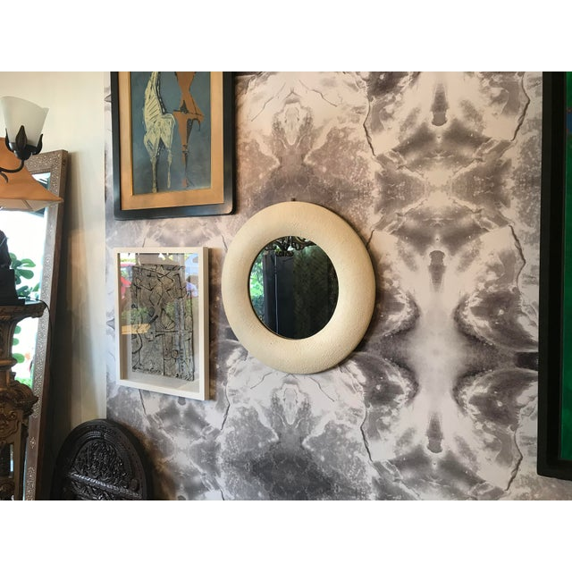 Off White Embossed Leather Round Mirror For Sale In Miami - Image 6 of 7
