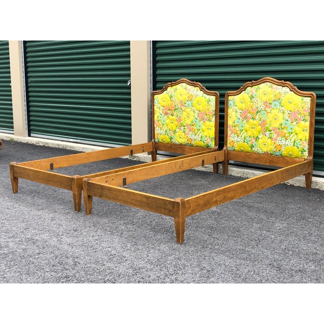 Vintage Upholstered Twin Bed Frames - a Pair For Sale - Image 4 of 13