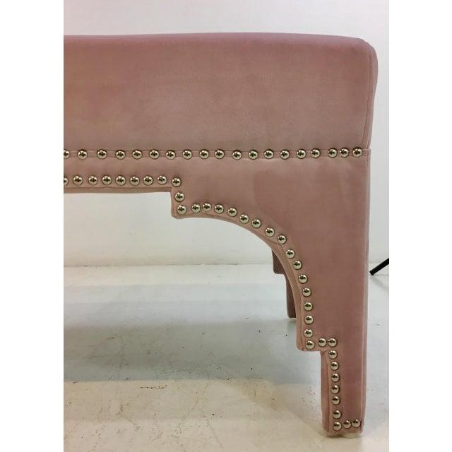 Modern Worlds Away Modern Blush Velvet Matilda Bench For Sale - Image 3 of 5