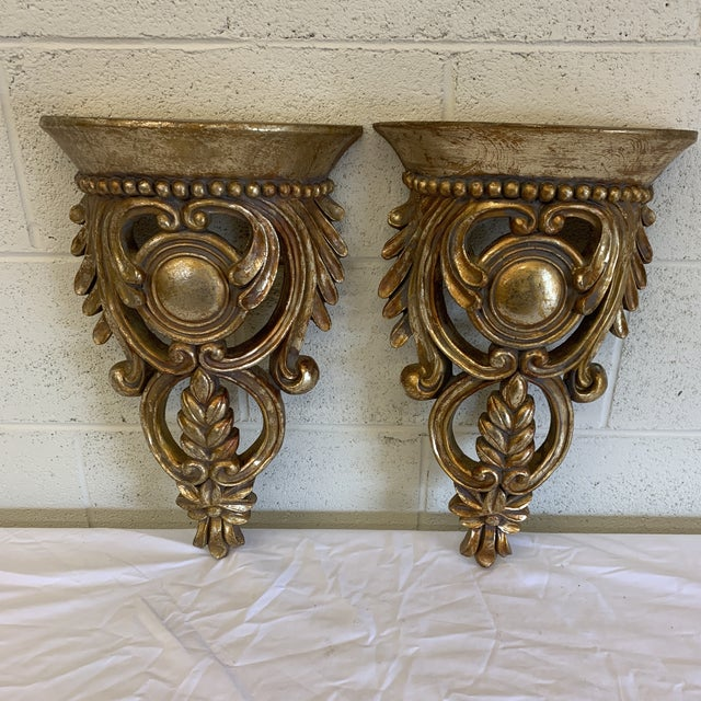 1970s Carved Ornate Gilt Wood Wall Brackets -A Pair For Sale - Image 5 of 12