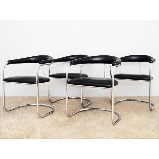Set of Four Black Anton Lorenz for Thonet Chrome Chairs For Sale In Dallas - Image 6 of 6